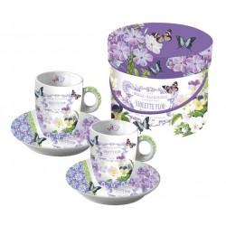 PPD Espresso kop en schotelset Vintage Violets